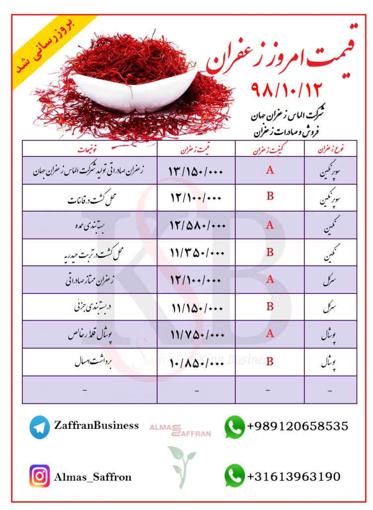 لیست قیمت زعفران کیلویی