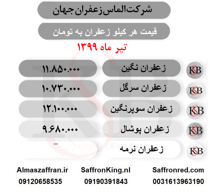 قیمت روز زعفران کیلویی در بازار